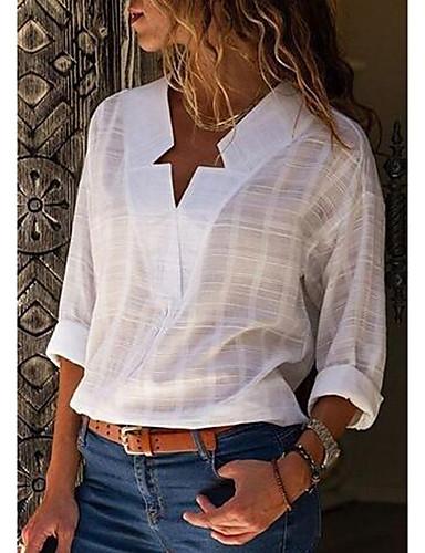 baratos Blusas Femininas-Mulheres Tamanhos Grandes Camisa Social Moda de Rua Sólido Algodão Decote V Rosa XXXL
