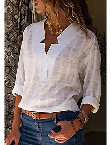 cheap Women's Shirts-Women's Street chic Plus Size Cotton Shirt - Solid Colored V Neck Blushing Pink XXXL