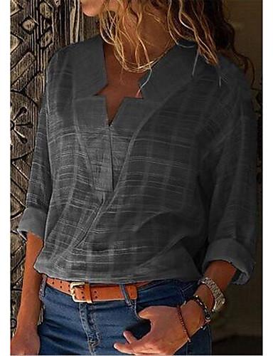 abordables Hauts pour Femme-Chemise Grandes Tailles Femme, Couleur Pleine - Coton Chic de Rue Col en V Noir