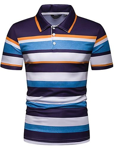 4bbcbb09a12ad Homens Tamanho Europeu   Americano Polo Listrado Colarinho de Camisa  Delgado Azul L   Manga Curta