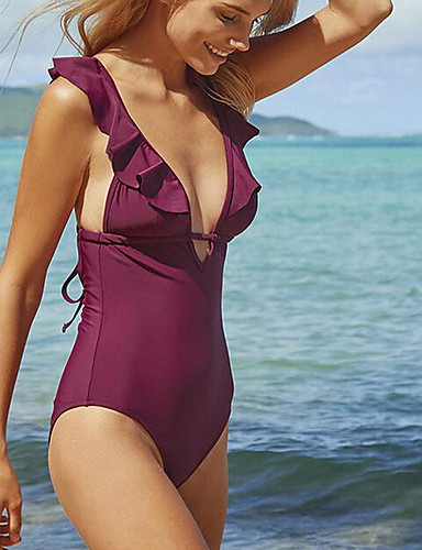 050fd1eb73e Women s Strap Wine Halter Cheeky One-piece Swimwear - Solid Colored M L XL  Wine   Sexy