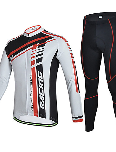 cheap Cycling Clothing-cheji® Men's Long Sleeve Cycling Jersey with Tights Red and White Grey Black / Yellow Bike Clothing Suit Quick Dry Sports Solid Colored Mountain Bike MTB Road Bike Cycling Clothing Apparel