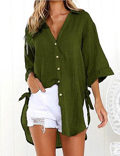 billige Topper til damer-Bomull Oversized Skjortekrage Skjorte Dame - Ensfarget, Overstørrelse Rosa