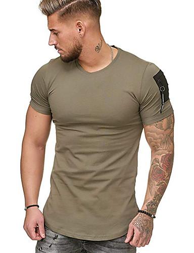 voordelige Heren T-shirts & tanktops-Heren Patchwork T-shirt Katoen Effen Ronde hals Zwart