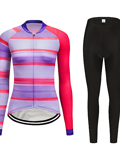 cheap Cycling Clothing-FirtySnow Women's Long Sleeve Cycling Jersey with Tights Peach Bike Clothing Suit Thermal / Warm Windproof Fleece Lining Winter Sports Polyester Horizontal Stripes Mountain Bike MTB Road Bike Cycling