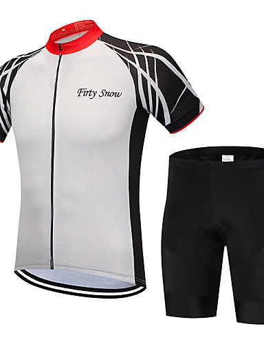 eef6c0acf FirtySnow Men s Short Sleeve Cycling Jersey with Shorts - Black   White Bike  Clothing Suit Breathable Quick Dry Sports Polyester Creative Mountain Bike  MTB ...