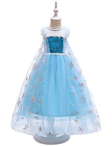 Παιδιά / Νήπιο Κοριτσίστικα Ενεργό / Γλυκός Πάρτι Μονόχρωμο Πούλιες Αμάνικο Μακρύ Φόρεμα Θαλασσί