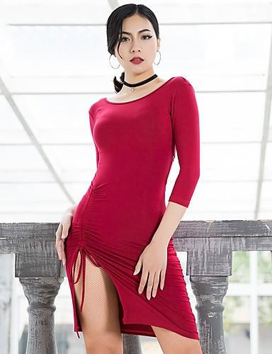 4289b0c062dd Balli latino-americani Vestiti Per donna Prestazioni Modal Con ruche Manica  a 3 4 Abito