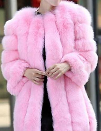 10b95fe10a6d Χαμηλού Κόστους Women  039 s Fur  amp  Faux Fur Coats-Γυναικεία Καθημερινά.  Γυναικεία Καθημερινά Βασικό Φθινόπωρο   Χειμώνας Μακρύ Γούνινο παλτό ...