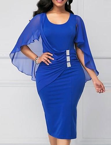 cheap 5/23-2019 New Arrival Dresses Women's Slim Sheath Dress Elbise Vestidos Robe Femme - Solid Colored Summer Purple Wine Royal Blue XL XXL XXXL