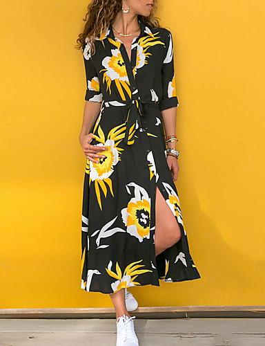 voordelige Maxi-jurken-Dames Wijd uitlopend Jurk Bloemen Print Overhemdkraag Maxi