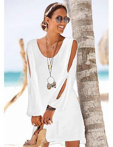 מיני מפוצל שיפון שמלה ישרה בגדי ריקוד נשים / חגים / ליציאה / חוף