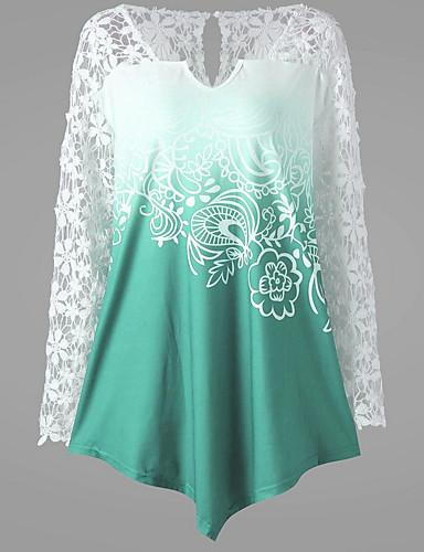billige Topper til damer-V-hals Store størrelser T-skjorte Dame - Geometrisk, Blonde Grønn