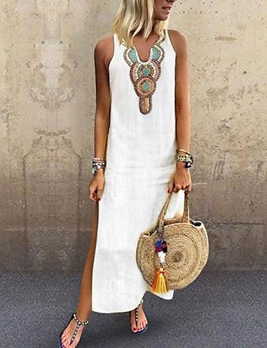 hesapli Kadın Elbiseleri-Kadın's Büyük Bedenler Boho Zarif İnce Kombinezon Elbise - Solid Kabile, Bölünmüş Kırk Yama V Yaka Maksi