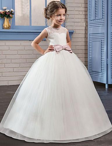 553c4f809 Princesa Longitud Larga Vestido de Niña Florista - Satén   Tul Sin Mangas  Joya con Encaje   Cinturón   Cristales   Rhinestones por LAN TING Express