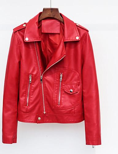Per donna Quotidiano Essenziale Autunno Standard Giacche di pelle, Tinta unita Colletto Manica lunga PU (Poliuretano) Rosso / Rosa / Giallo M / L / XL