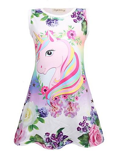 billige Unicorn Dresses-Barn Jente søt stil Unicorn Tegneserie Ermeløs Ovenfor knéet Kjole Lilla