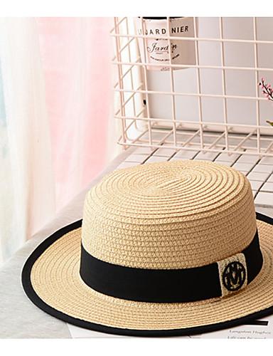 Недорогие Мужские головные уборы-Муж. Классический Соломенная шляпа Солома,Однотонный Черный Бежевый Хаки