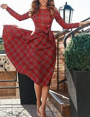 hesapli Vintage Kraliçesi-kadın midi salıncak elbise kırmızı s m l xl