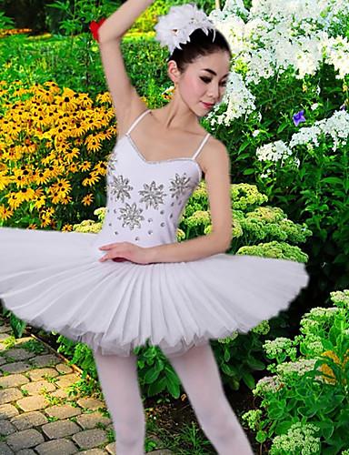 billige Nyheter-Ballet Kjoler / Tutuer & Skjørter Dame Trening / Ytelse Polyester / Netting Krystall / Rhinestone Ermeløs Kjole