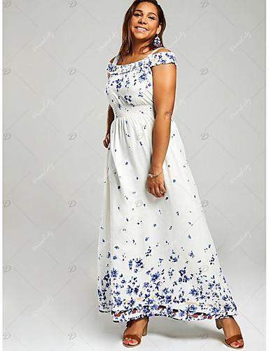 419f383660b Women s Basic A Line Dress - Geometric White Navy Blue XXXL XXXXL XXXXXL