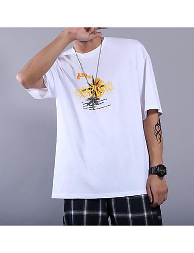 男性用 Tシャツ ラウンドネック スリム グラフィック ホワイト L