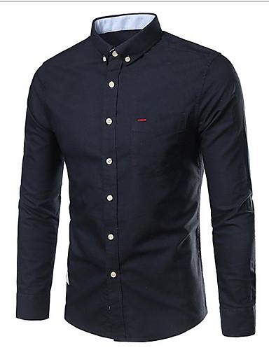 Men's Cotton Shirt - Solid Colored Navy Blue XXL