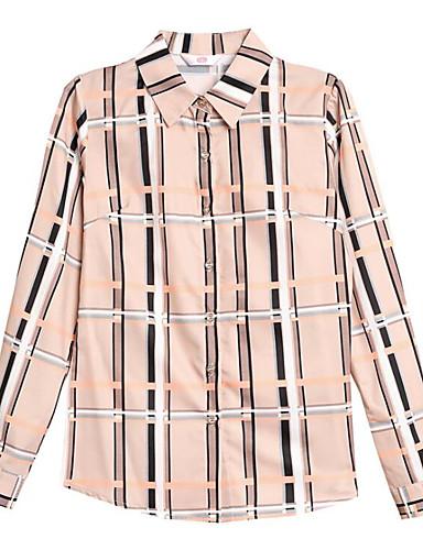 Mulheres Camisa Social Geométrica Colarinho de Camisa Delgado Khaki XXL