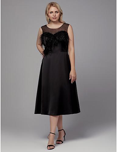 voordelige Grote maten jurken-A-lijn Met sieraad Over de knie Stretchsatijn Cocktailparty Jurk met Veren / Bont door TS Couture®