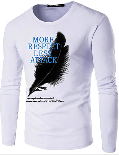 abordables Camisetas y Tops de Hombre-Hombre Estampado - Algodón Camiseta, Escote Redondo Gráfico / Letra Azul Marino XXXL