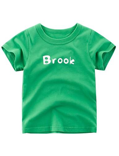 子供 女の子 活発的 プリント 半袖 ポリエステル Tシャツ グリーン