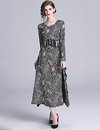 Mujer Elegante Vaina Vestido - Encaje Peplum, Leopardo Maxi