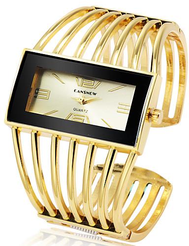 저렴한 팔찌 시계-여성용 팔찌 시계 금시계 석영 실버 / 골드 / 로즈 골드 캐쥬얼 시계 멋진 큰 다이얼 아날로그 패션 우아함 - 골든 + 블랙 로즈 골드 블랙 / 로즈 골드 1 년 배터리 수명 / 스테인레스 스틸