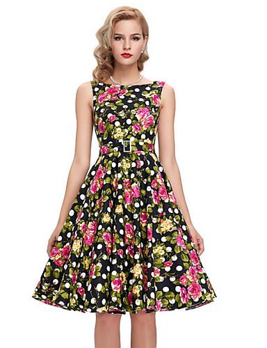 economico Vestiti da donna-Per donna Elegante Linea A Vestito - Con stampe 32266f2e464