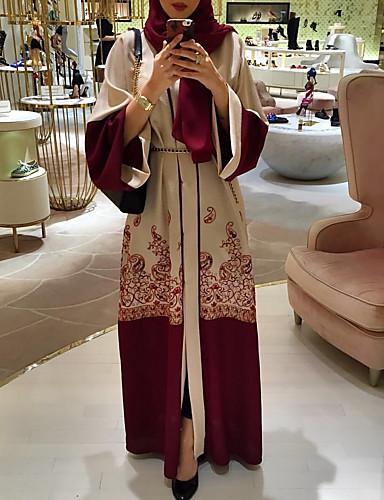 Mujer Boho Elegante Abaya Kaftan Vestido - Acordonado Estampado, Geométrico Maxi