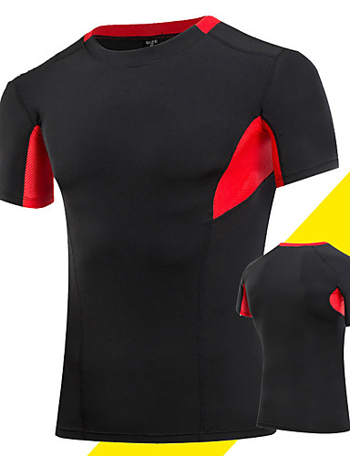 cheap Cycling Clothing-Men's Compression Shirt Short Sleeve Compression Base layer T Shirt Top Plus Size Lightweight Breathable Quick Dry Soft Sweat-wicking Grey Black / Green Golden+Black Spandex Road Bike Mountain Bike