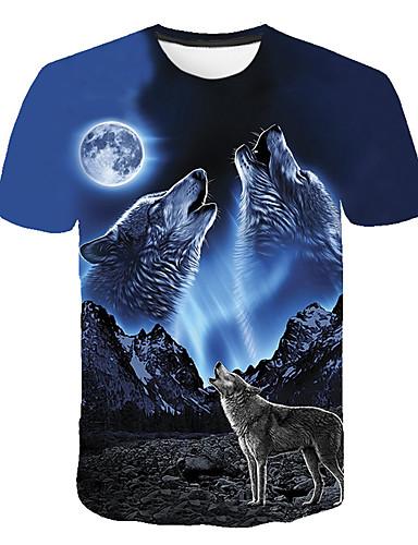 Χαμηλού Κόστους Το animal print-Ανδρικά T-shirt Κλαμπ Βασικό / Κομψό στυλ street Συνδυασμός Χρωμάτων / 3D / Ζώο Στρογγυλή Λαιμόκοψη Στάμπα Λύκος Θαλασσί XXXL / Κοντομάνικο