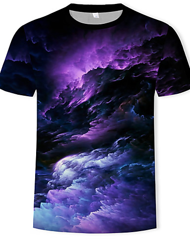 voordelige Heren T-shirts & tanktops-Heren Standaard / Boho Print T-shirt Heelal / 3D Ronde hals Regenboog / Korte mouw