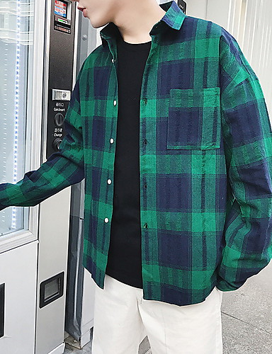 Men's Shirt - Check Classic Collar Green M