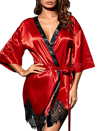 billige Brystholdere-Store størrelser Polyester BH- og trusesett Sexy Ensfarget Bryllup Blonder
