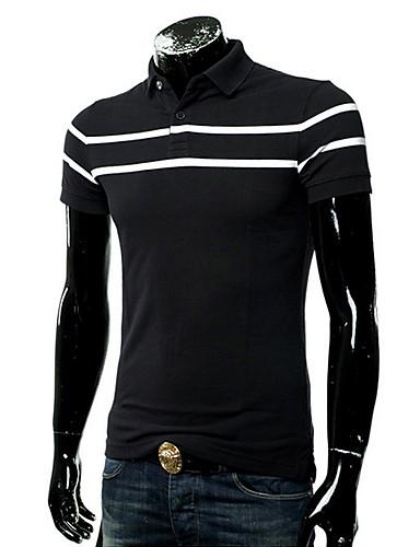voordelige Herenpolo's-Heren Patchwork Polo Gestreept Overhemdkraag Zwart