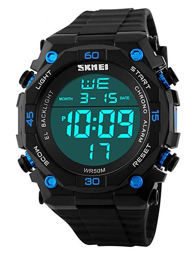 SKMEI Hombre Reloj Digital Digital Cuero Sintético Acolchado Negro 50 m Resistente al Agua Calendario Cronómetro Digital Clásico Moda - Negro Rojo Azul