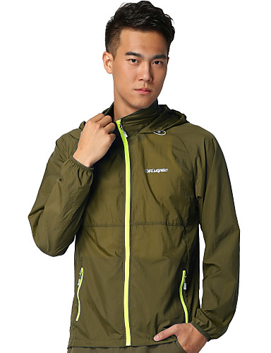 cheap Outdoor Clothing-FLYGAGa Men's Hiking Windbreaker Outdoor Summer Lightweight UV Resistant Fast Dry Breathability Jacket Single Slider Hunting Camping / Hiking / Caving Mountaineering Blue / Forest Green / Burgundy