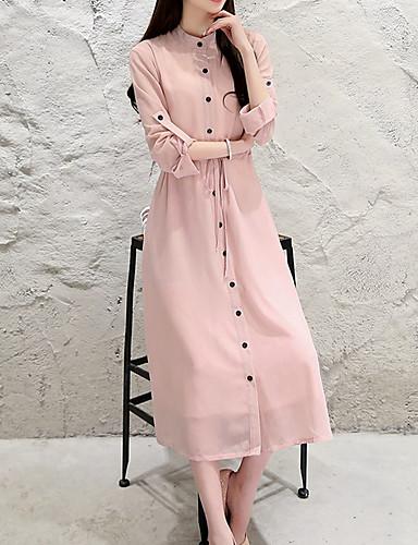 Women's Basic A Line Dress - Solid Colored Patchwork Black Pink M L XL