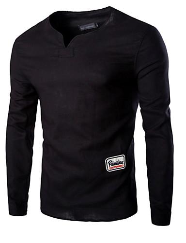 T-shirt Per uomo Tinta unita Rotonda Nero XL