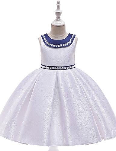 Дети Девочки Активный / Милая Однотонный Без рукавов До колена Платье Красный