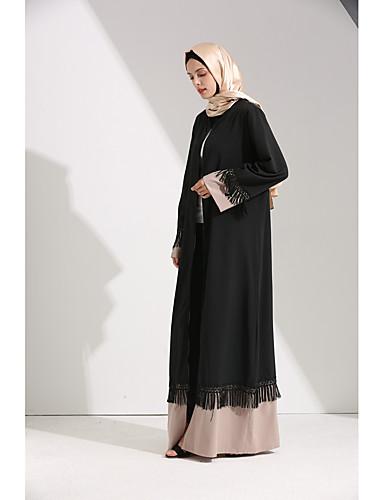 Umoristico Per Donna Essenziale Elegante Abaya Caftano Vestito - Nappa Lacci Collage, Monocolore Maxi #07194733