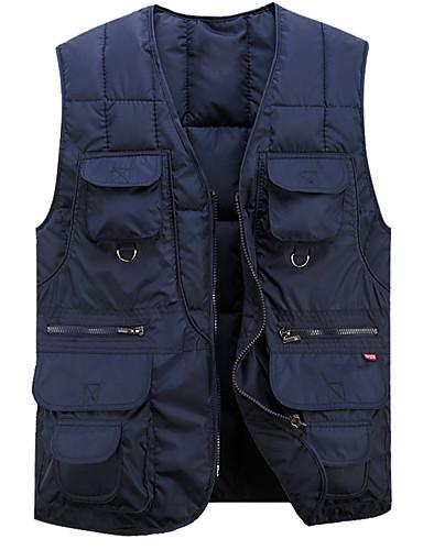 voordelige Heren donsjassen & parka's-Heren Dagelijks Standaard Effen Grote maten Normaal Vest, Polyester Mouwloos V-hals Leger Groen / Marineblauw L / XL / XXL