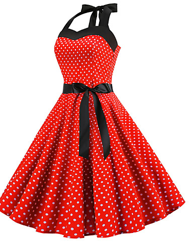 dfc17aca87 2019 New Arrival Dresses Women s Elegant A Line Dress Elbise Vestidos Robe  Femme - Polka Dot Print Red Pink Light Blue L XL XXL