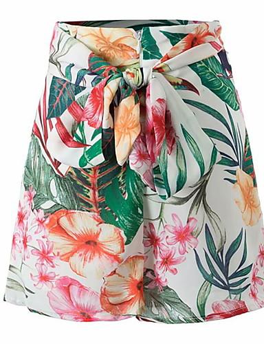 billige Tights til damer-Dame Grunnleggende Tynn Shorts Bukser - Blomstret Grønn S M L
